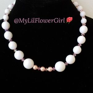 Girls beaded chunky necklace.Pink & white jewelry